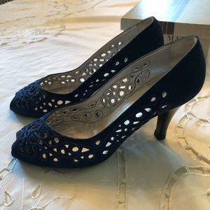 Bruno Magli Peep Toe Pumps in Navy Blue